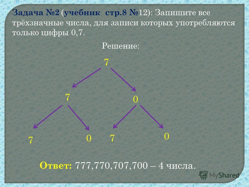 Задача 2 ( учебник стр.8 12): Запишите все трёхзначные числа, для записи которых употребляются только цифры 0,7. Решение: 7 7 0 7 70 0 Ответ: 777,770,707,700 – 4 числа.