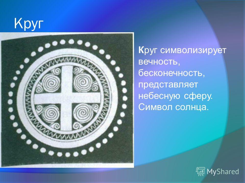 Круг Круг символизирует вечность, бесконечность, представляет небесную сферу. Символ солнца.