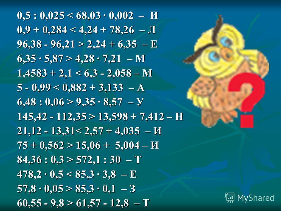 0,5 : 0,025 < 68,03 · 0,002 – И 0,9 + 0,284 < 4,24 + 78,26 – Л 96,38 - 96,21 > 2,24 + 6,35 – Е 6,35 · 5,87 > 4,28 · 7,21 – М 1,4583 + 2,1 < 6,3 - 2,058 – М 5 - 0,99 < 0,882 + 3,133 – А 6,48 : 0,06 > 9,35 · 8,57 – У 145,42 - 112,35 > 13,598 + 7,412 –