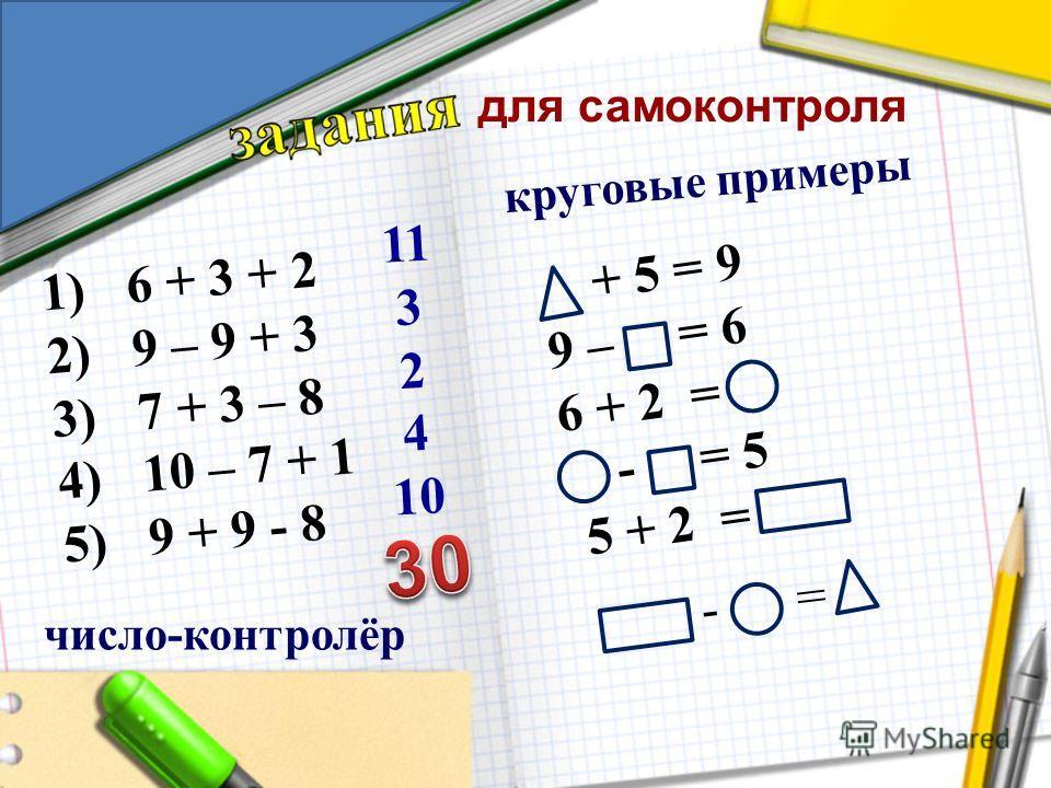 круговые примеры число-контролёр 11 3 2 4 10 1)6 + 3 + 2 2)9 – 9 + 3 3)7 + 3 – 8 4)10 – 7 + 1 5)9 + 9 - 8 + 5 = 9 9 – = 6 6 + 2 = - = 5 5 + 2 = - = для самоконтроля
