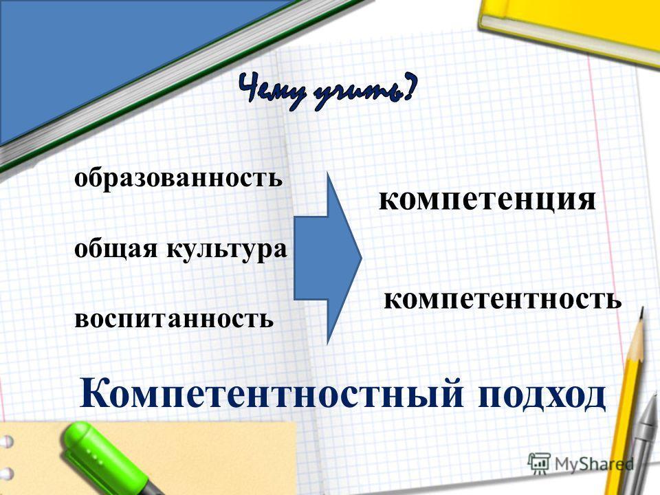 образованность общая культура воспитанность компетенция компетентность Компетентностный подход