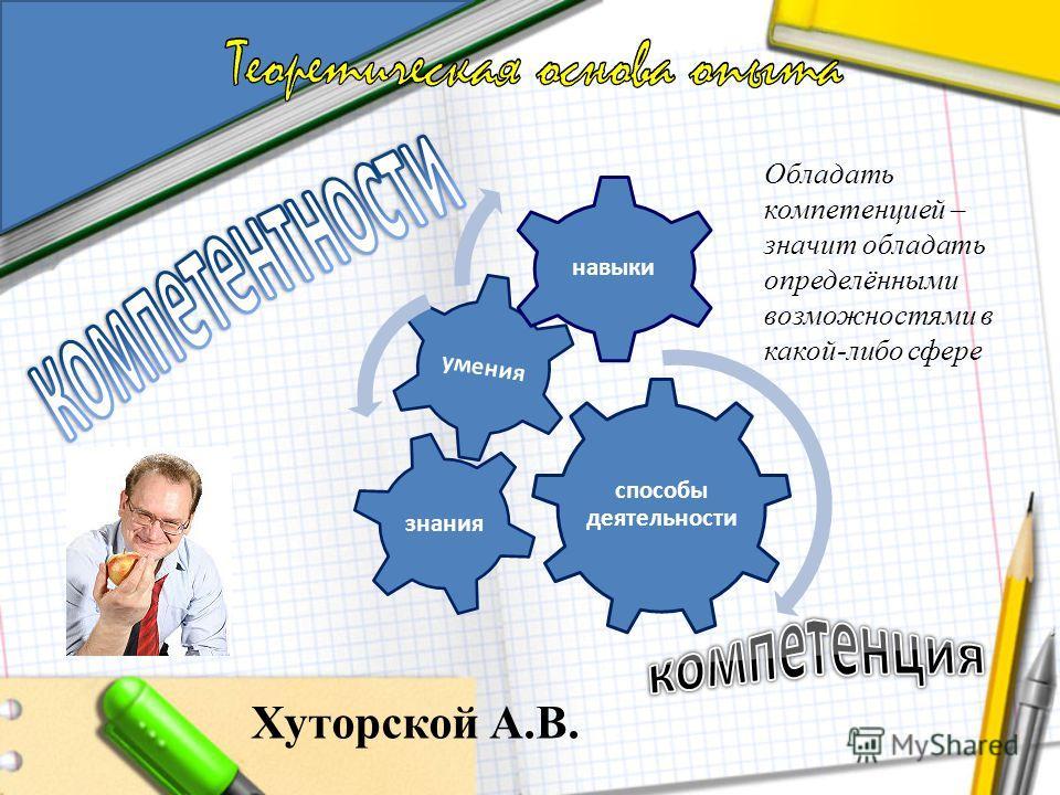 Хуторской А.В. способы деятельности умения знания навыки Обладать компетенцией – значит обладать определёнными возможностями в какой-либо сфере