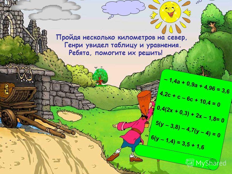 – 1,4а + 0,9а + 4,96 = 3,6 4,2с + с – 6с + 10,4 = 0 0,4(2х + 0,3) + 2х – 1,8= 0 5(у – 3,8) – 4,7(у – 4) = 0 6(у – 1,4) = 3,5 + 1,6 Пройдя несколько километров на север, Генри увидел таблицу и уравнения. Ребята, помогите их решить!