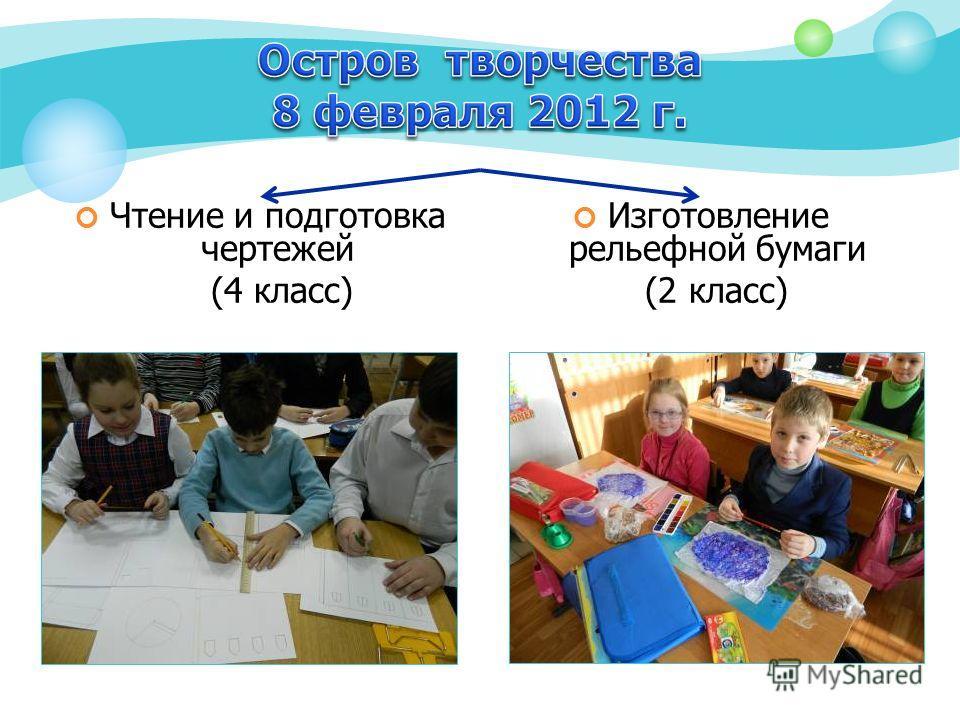 Чтение и подготовка чертежей (4 класс) Изготовление рельефной бумаги (2 класс)