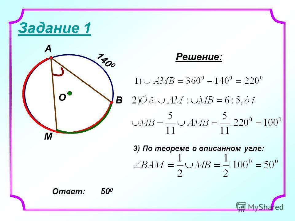 Задание 1 В М О А 140 0 Решение: 3) По теореме о вписанном угле: Ответ: 50 0