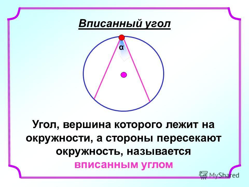 Вписанный угол Угол, вершина которого лежит на окружности, а стороны пересекают окружность, называется вписанным углом α