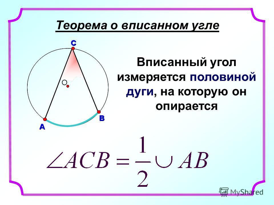 Теорема о вписанном угле Вписанный угол измеряется половиной дуги, на которую он опирается