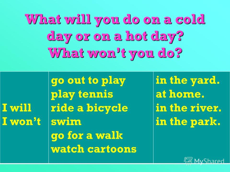 What will you do on a cold day or on a hot day? What wont you do? I will I wont go out to play play tennis ride a bicycle swim go for a walk watch cartoons in the yard. at home. in the river. in the park.