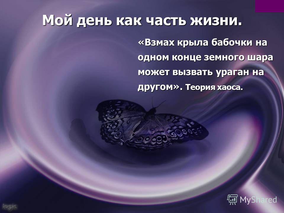 Мой день как часть жизни. «Взмах крыла бабочки на одном конце земного шара может вызвать ураган на другом». Теория хаоса.