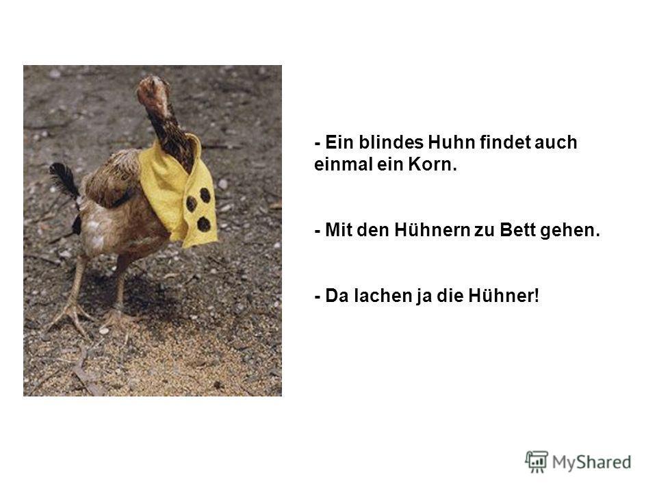 - Ein blindes Huhn findet auch einmal ein Korn. - Mit den Hühnern zu Bett gehen. - Da lachen ja die Hühner!