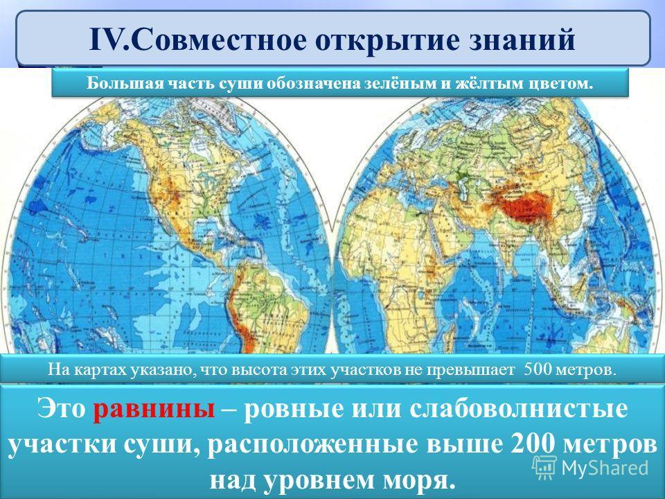 IV.Совместное открытие знаний Большая часть суши обозначена зелёным и жёлтым цветом. На картах указано, что высота этих участков не превышает 500 метров. Это равнины – ровные или слабоволнистые участки суши, расположенные выше 200 метров над уровнем