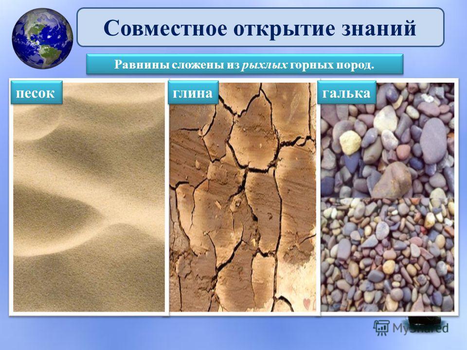 Совместное открытие знаний Равнины сложены из рыхлых горных пород. песок галька глина