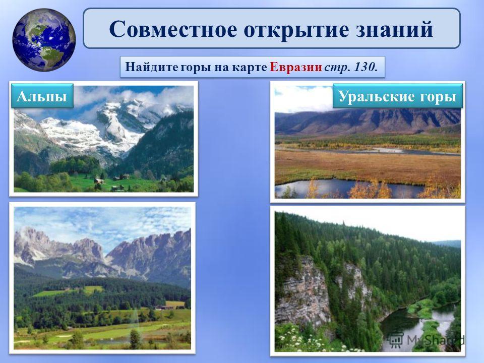 Совместное открытие знаний Найдите горы на карте Евразии стр. 130. Альпы Альпы Уральские горы