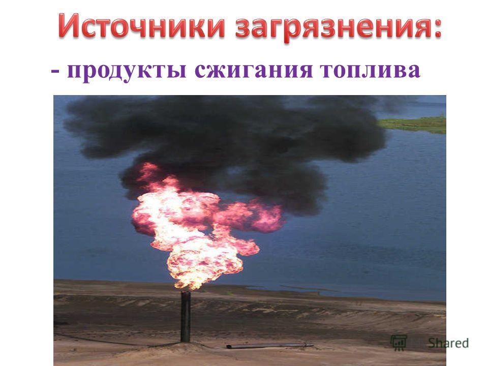 - продукты сжигания топлива