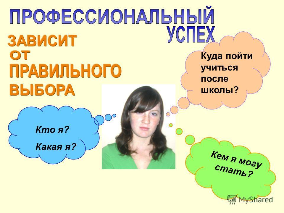 Куда пойти учиться после школы? Кто я? Какая я? Кем я могу стать?