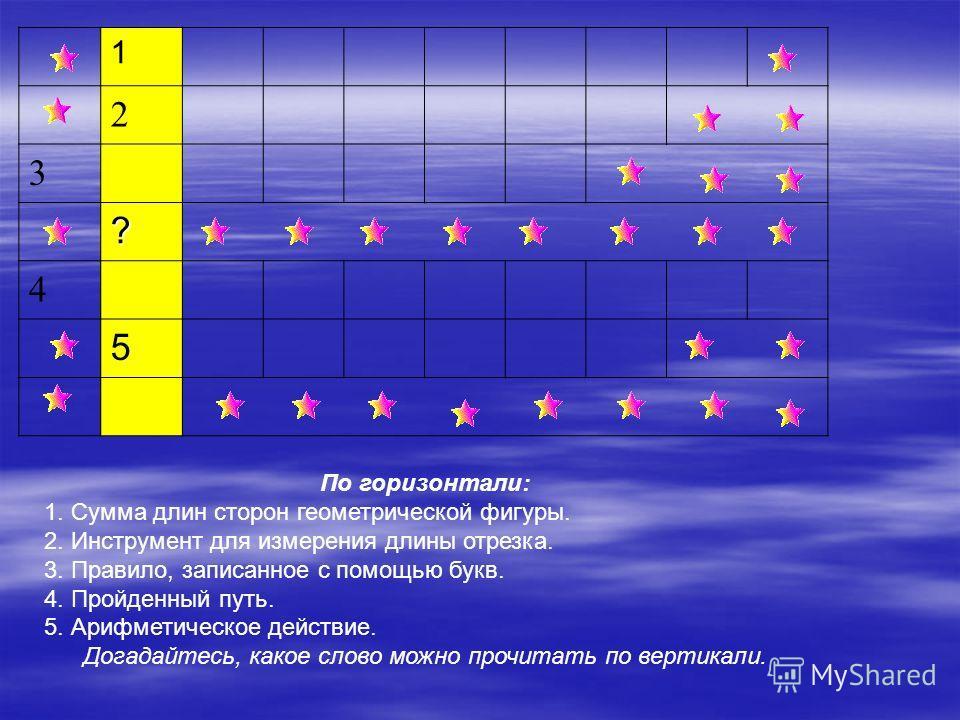 По горизонтали: 1. Сумма длин сторон геометрической фигуры. 2. Инструмент для измерения длины отрезка. 3. Правило, записанное с помощью букв. 4. Пройденный путь. 5. Арифметическое действие. Догадайтесь, какое слово можно прочитать по вертикали. 1 2 3