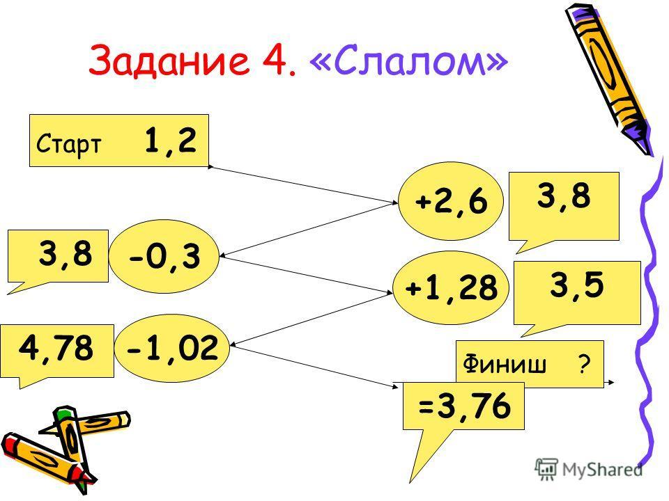 Задание 4. «Слалом» Старт 1,2 +2,6 -0,3 +1,28 -1,02 Финиш ? 3,8 3,5 4,78 =3,76 3,8