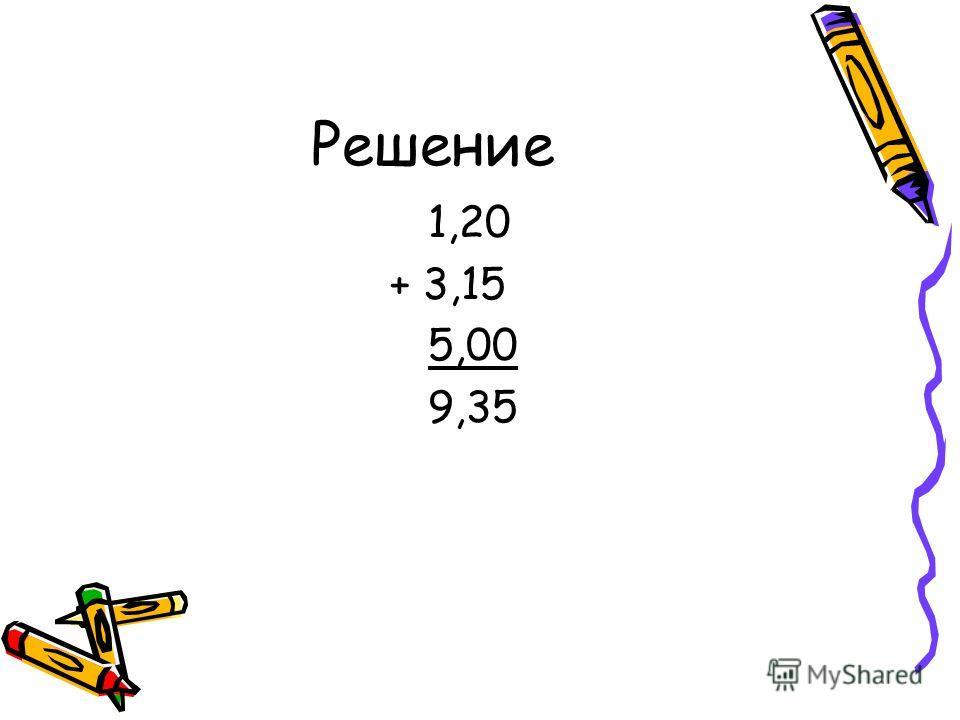 Решение 1,20 + 3,15 5,00 9,35