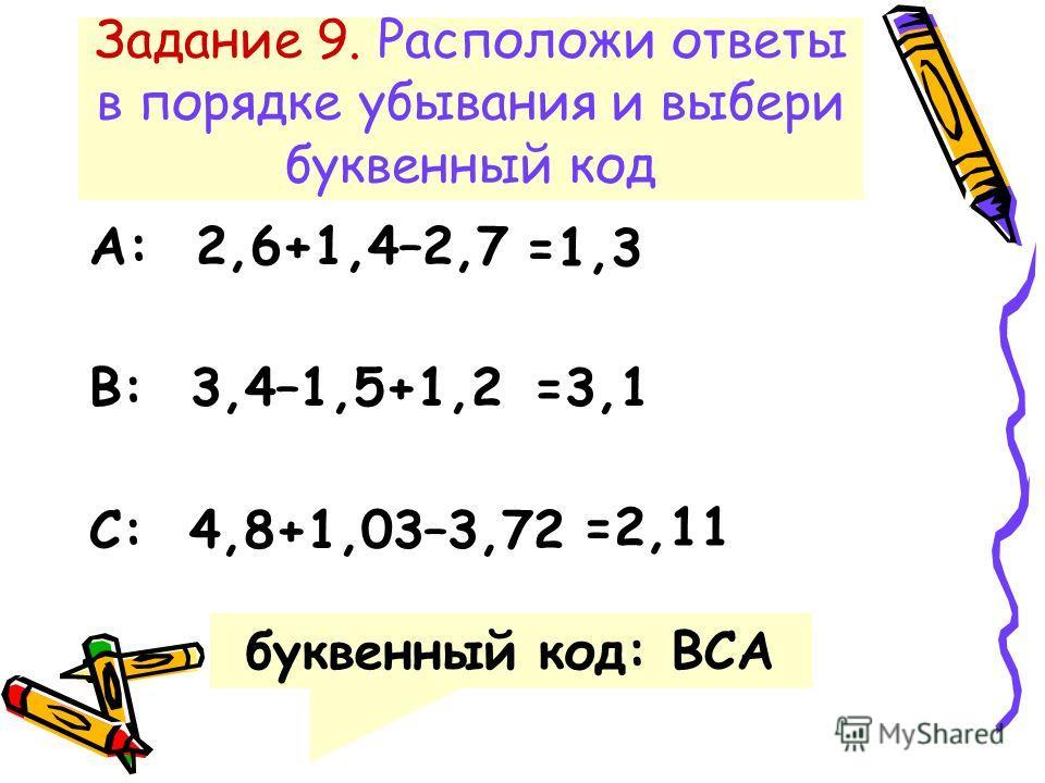 Задание 9. Расположи ответы в порядке убывания и выбери буквенный код А: 2,6+1,4–2,7 В: 3,4–1,5+1,2 С: 4,8+1,03–3,72 =1,3 =3,1 =2,11 буквенный код: ВСА