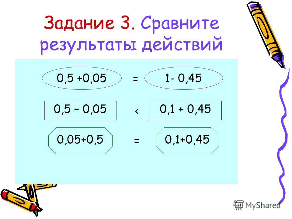 Задание 3. Сравните результаты действий 0,5 +0,051- 0,45 0,5 – 0,050,1 + 0,45 0,05+0,50,1+0,45 = < =