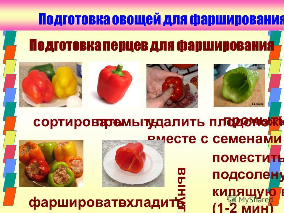 промыть Подготовка овощей для фарширования сортировать удалить плодоножку вместе с семенами поместить в подсоленую кипящую воду (1-2 мин) вынуть промыть фаршироватьохладить Подготовка перцев для фарширования