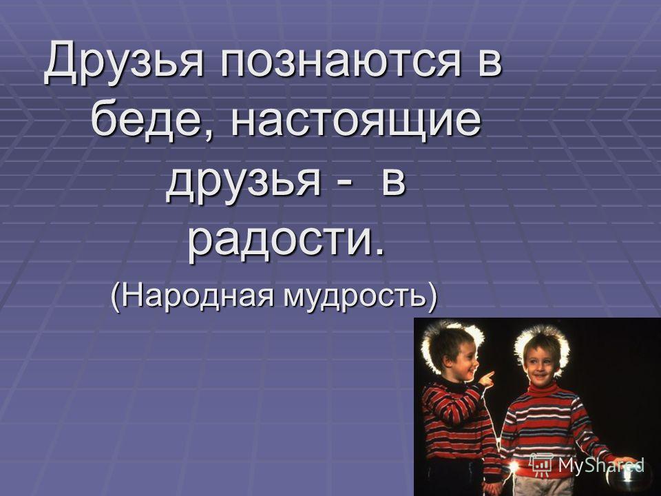 Друзья познаются в беде, настоящие друзья - в радости. (Народная мудрость)