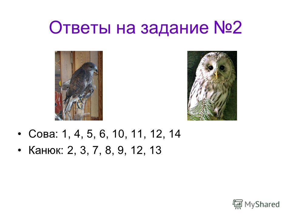 Ответы на задание 2 Сова: 1, 4, 5, 6, 10, 11, 12, 14 Канюк: 2, 3, 7, 8, 9, 12, 13