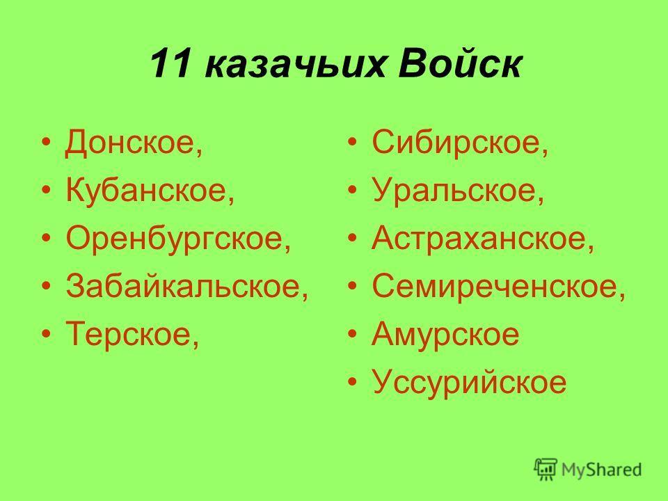 11 казачьих Войск Донское, Кубанское, Оренбургское, Забайкальское, Терское, Сибирское, Уральское, Астраханское, Семиреченское, Амурское Уссурийское