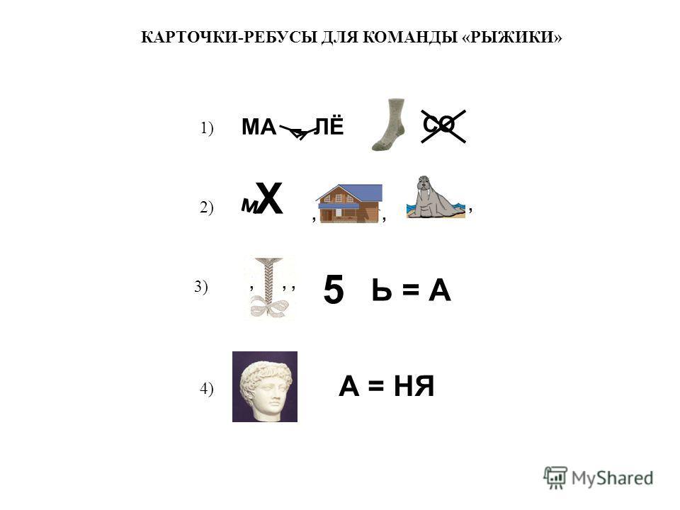 КАРТОЧКИ-РЕБУСЫ ДЛЯ КОМАНДЫ «РЫЖИКИ» 1) 2) 3) 4) МАЛЁ СО м Х,,,,, 5 Ь = А А = НЯ