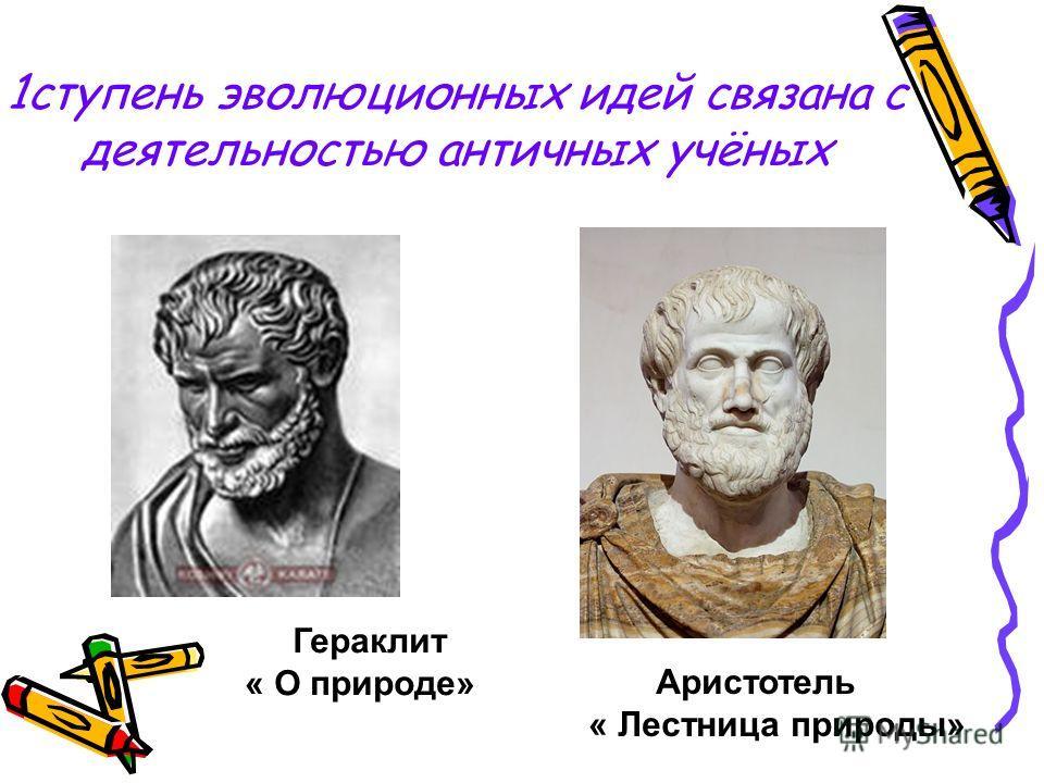 1ступень эволюционных идей связана с деятельностью античных учёных Гераклит « О природе» Аристотель « Лестница природы»