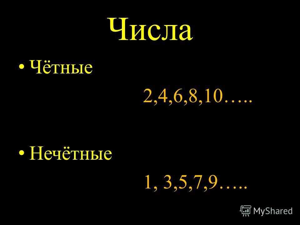 Числа Чётные 2,4,6,8,10….. Нечётные 1, 3,5,7,9…..
