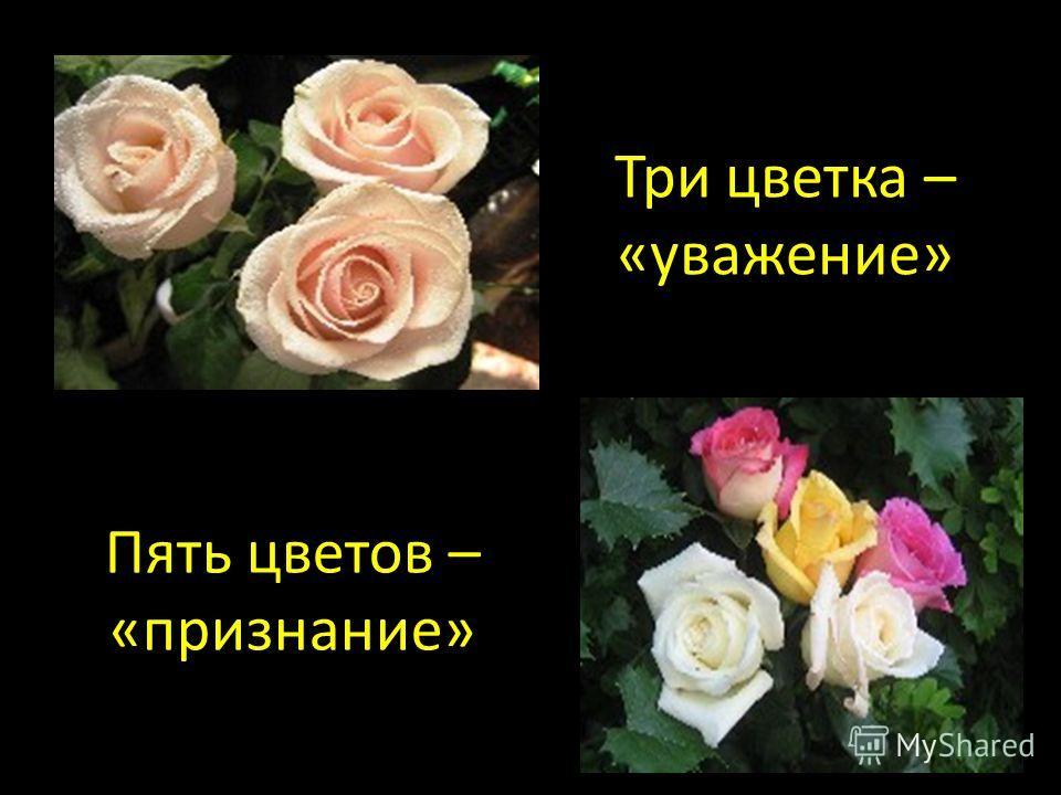 Пять цветов – «признание» Три цветка – «уважение»