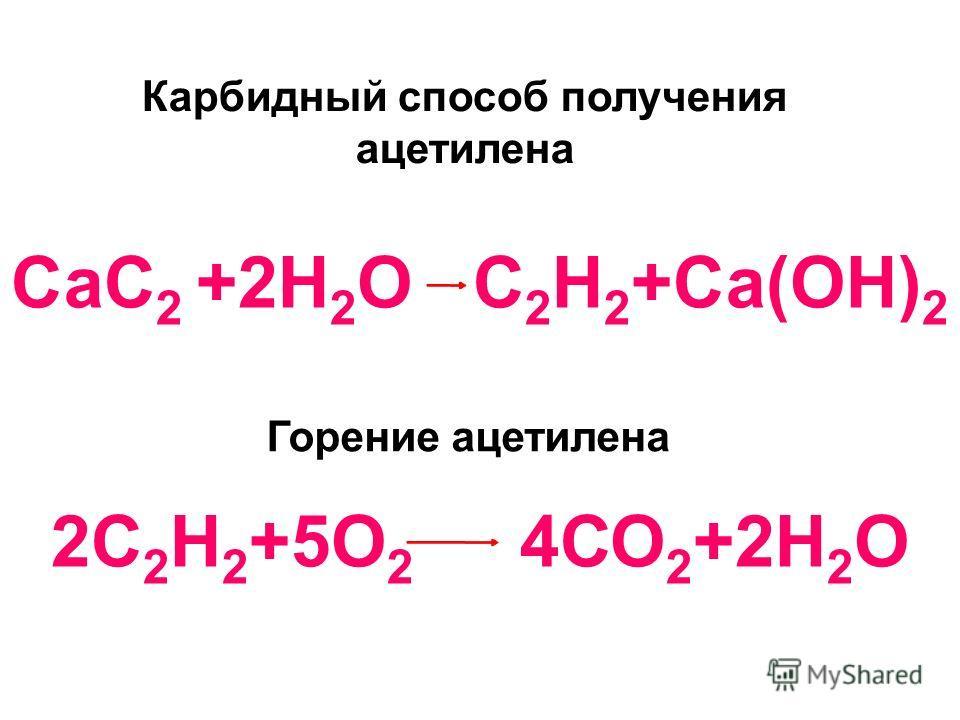 СаС 2 +2Н 2 О С 2 Н 2 +Са(ОН) 2 2С 2 Н 2 +5О 2 4СО 2 +2Н 2 О Карбидный способ получения ацетилена Горение ацетилена