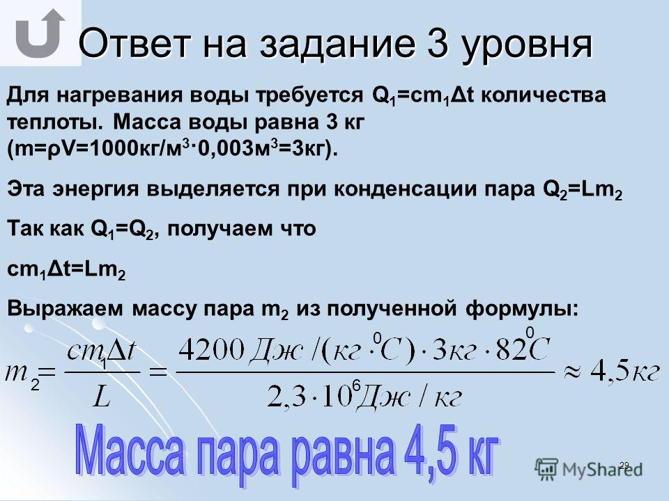 28 Ответ на задание 3 уровня Количество теплоты, Количество теплоты, необходимое для необходимое для нагревания воздуха : нагревания воздуха : Q=cmΔt =cVρΔt= Q=cmΔt =cVρΔt= =1000 Дж/(кг· 0 С) · 5·4·3 м 3 · 1,29 кг/м 3 · 20 0 С= =1000 Дж/(кг· 0 С) · 5