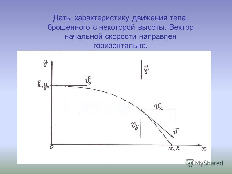 Дать характеристику движения тела, брошенного с некоторой высоты. Вектор начальной скорости направлен горизонтально.