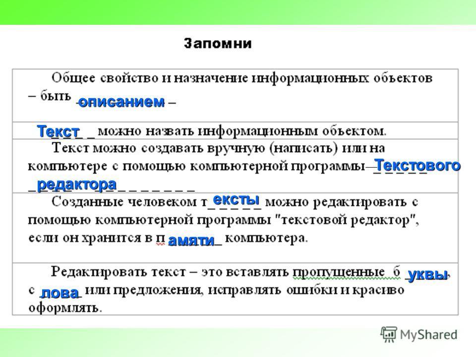 описанием Текст Текстового редактора ексты амяти уквы лова