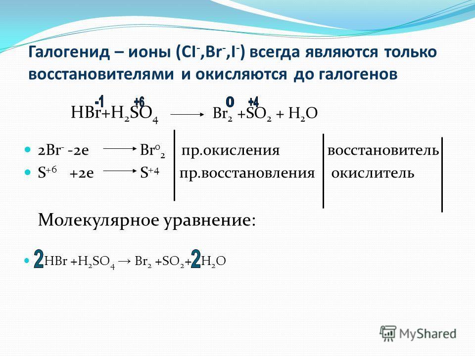 Галогенид – ионы (CI -,Br -,I - ) всегда являются только восстановителями и окисляются до галогенов HBr+H 2 SO 4 2Br - -2e Br 0 2 пр.окисления восстановитель S +6 +2e S +4 пр.восстановления окислитель Молекулярное уравнение: HBr +H 2 SO 4 Br 2 +SO 2