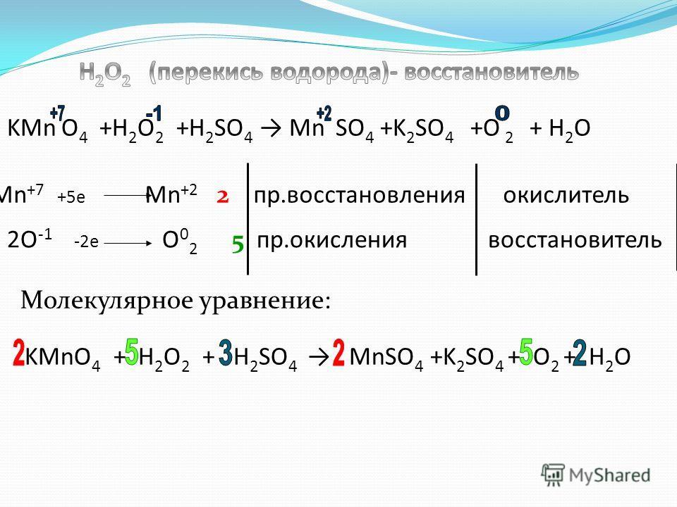 KMnO 4 + H 2 O 2 + H 2 SO 4 MnSO 4 +K 2 SO 4 + O 2 + H 2 O Mn +7 +5e Mn +2 2 пр.восстановления окислитель 2O -1 -2e O 0 2 5 пр.окисления восстановитель Молекулярное уравнение: