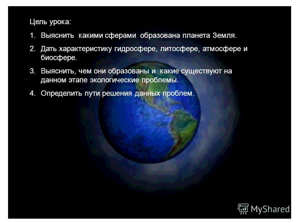 Цель урока: 1.Выяснить какими сферами образована планета Земля. 2.Дать характеристику гидросфере, литосфере, атмосфере и биосфере. 3.Выяснить, чем они образованы и какие существуют на данном этапе экологические проблемы. 4.Определить пути решения дан