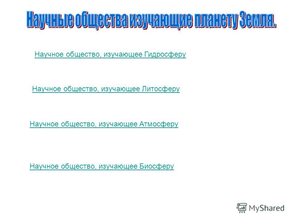 Научное общество, изучающее Гидросферу Научное общество, изучающее Литосферу Научное общество, изучающее Атмосферу Научное общество, изучающее Биосферу