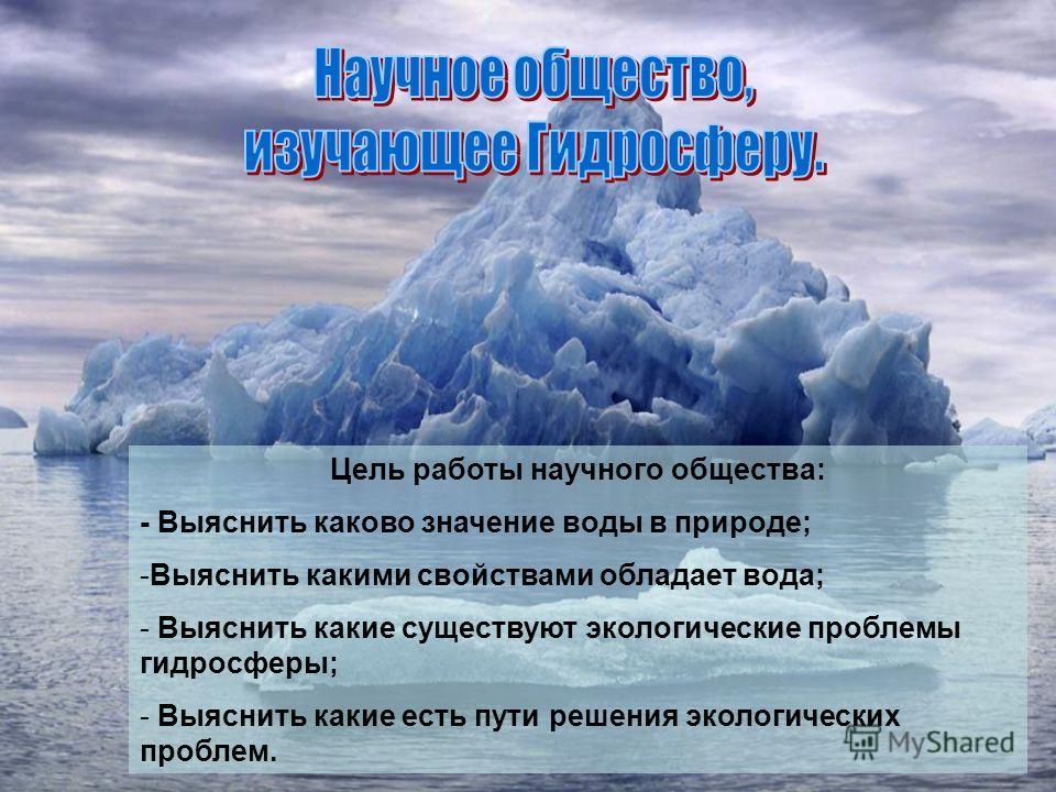 Цель работы научного общества: - Выяснить каково значение воды в природе; -Выяснить какими свойствами обладает вода; - Выяснить какие существуют экологические проблемы гидросферы; - Выяснить какие есть пути решения экологических проблем.