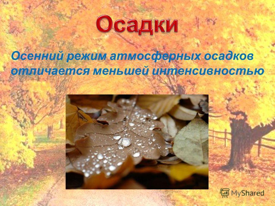 Осенний режим атмосферных осадков отличается меньшей интенсивностью