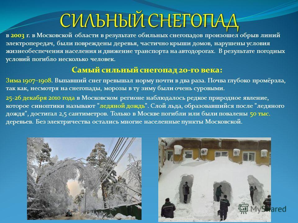 в 2003 г. в Московской области в результате обильных снегопадов произошел обрыв линий электропередач, были повреждены деревья, частично крыши домов, нарушены условия жизнеобеспечения населения и движение транспорта на автодорогах. В результате погодн