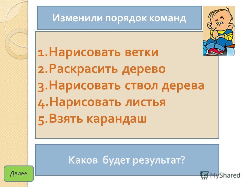 1. Нарисовать ветки 2. Раскрасить дерево 3. Нарисовать ствол дерева 4. Нарисовать листья 5. Взять карандаш Каков будет результат ? Изменили порядок команд Далее