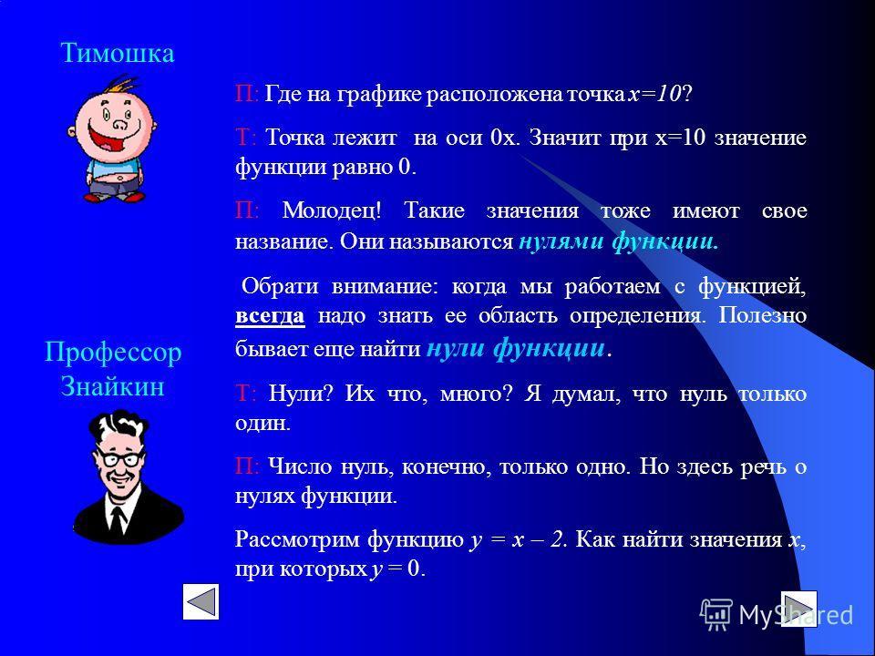 Профессор Знайкин Тимошка П: Где на графике расположена точка х=10? Т: Точка лежит на оси 0х. Значит при х=10 значение функции равно 0. П: Молодец! Такие значения тоже имеют свое название. Они называются нулями функции. Обрати внимание: когда мы рабо