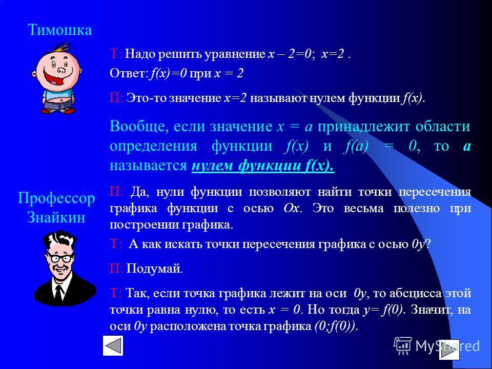 Профессор Знайкин Тимошка Т: Надо решить уравнение х – 2=0; х=2. Ответ: f(х)=0 при х = 2 П: Это-то значение х=2 называют нулем функции f(х). Вообще, если значение х = а принадлежит области определения функции f(х) и f(a) = 0, то а называется нулем фу