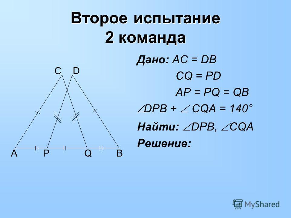 Дано: AC = DB CQ = PD AP = PQ = QB DPB + CQA = 140° Найти: DPB, CQA Решение: Второе испытание 2 команда APQB CD