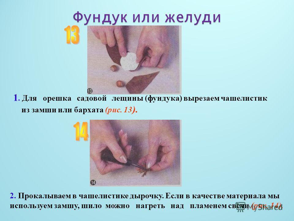 1. Для орешка садовой лещины (фундука) вырезаем чашелистик из замши или бархата (рис. 13 ). 2. Прокалываем в чашелистике дырочку. Если в качестве материала мы используем замшу, шило можно нагреть над пламенем свечи (рис. 14).