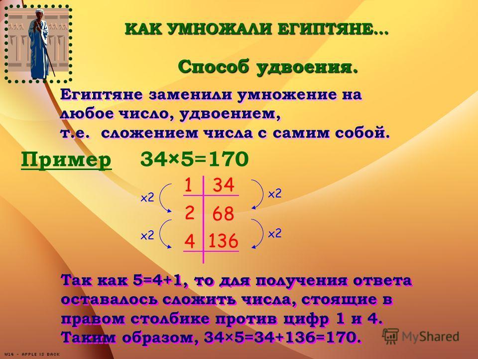 Египтяне заменили умножение на любое число, удвоением, т.е. сложением числа с самим собой. Египтяне заменили умножение на любое число, удвоением, т.е. сложением числа с самим собой. Пример 34×5=170 134 2 68 4 136 х2 Так как 5=4+1, то для получения от