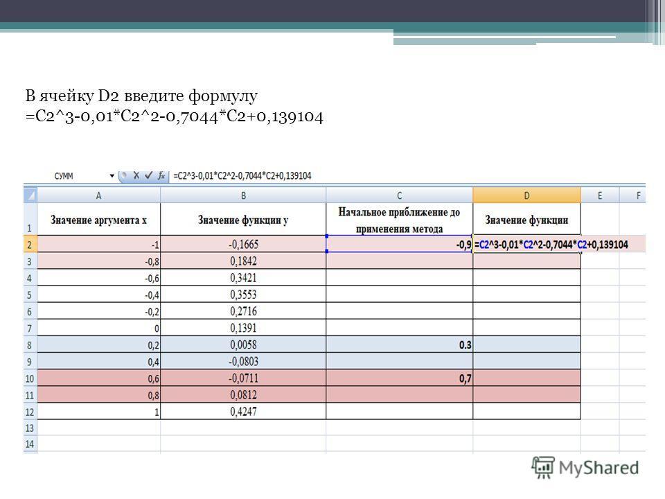 В ячейку D2 введите формулу =C2^3-0,01*C2^2-0,7044*C2+0,139104